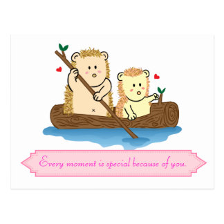 Cute Hedgehog couple sailing on wooden boat Postcard