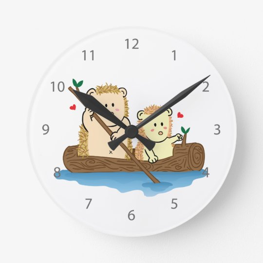 Cute Hedgehog couple sailing on wooden boat Round