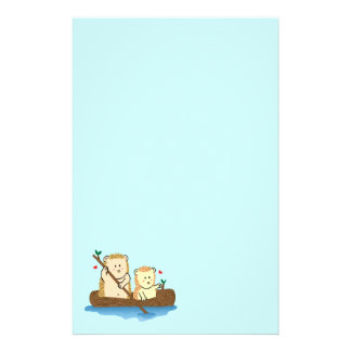 Cute Hedgehog couple sailing on wooden boat Stationery