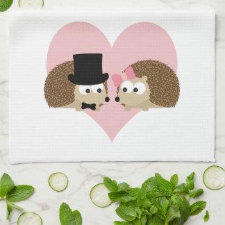 Cute Hedgehog couple Tea Towel