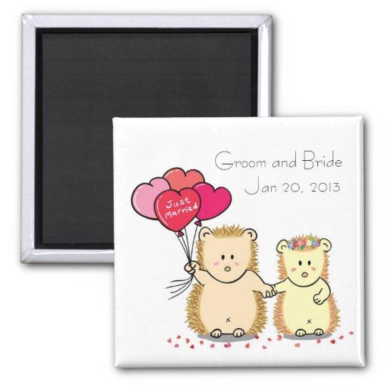 Cute hedgehog couple wedding favour magnet
