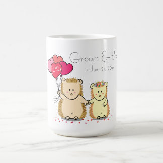 Cute hedgehog couple with balloons, just married coffee mugs