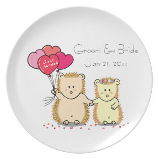 Cute hedgehog couple with balloons, just married party plates