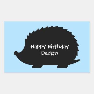 Cute Hedgehog Custom Happy Birthday Rectangular Sticker