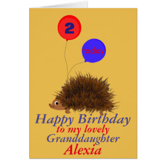 Cute hedgehog  Granddaughter birthday add name age Greeting Card