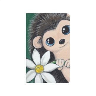 Cute Hedgehog holding a White Flower Painting Journal