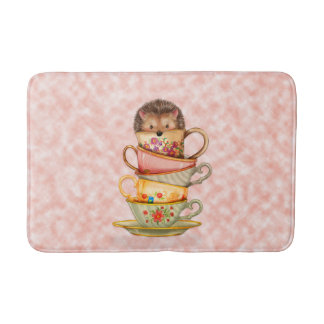 Cute Hedgehog in Stack of Colorful Mugs Bath Mat Bath Mats