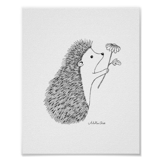 Cute Hedgehog Ink Drawing Poster Woodland Animal