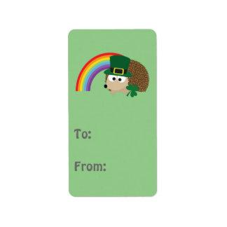 Cute Hedgehog Leprechaun Address Label