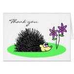 Cute Hedgehog Loves Flowers Thank You Card