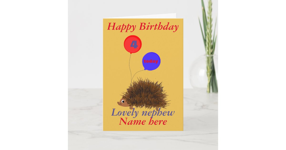 Cute Hedgehog Nephew Birthday Add Name Age Card
