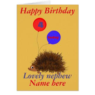Cute hedgehog Nephew Birthday add name age Greeting Card