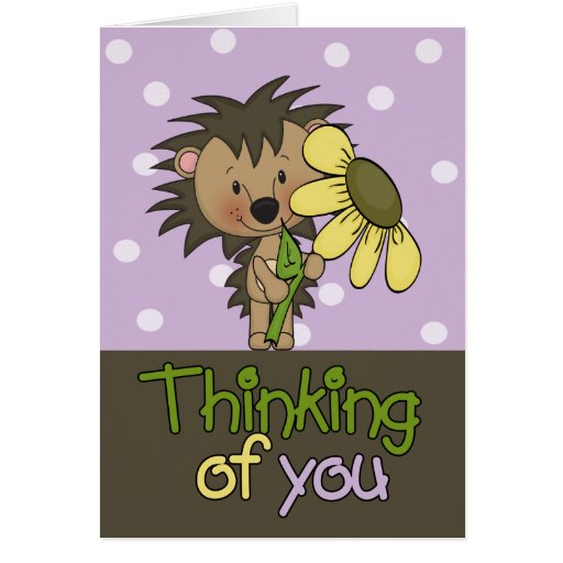 Cute Hedgehog, Thinking Of You Greeting Card | Zazzle