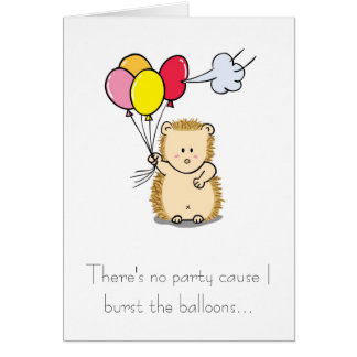 Cute Hedgehog with Balloons Birthday Card
