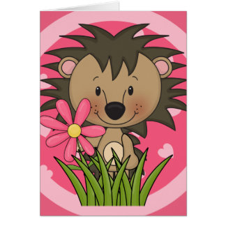 Cute Hedgehog With Flower and Hearts Greeting Card