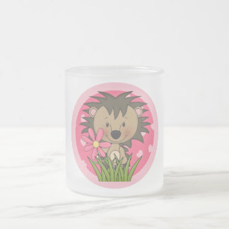 Cute Hedgehog With Flower and Hearts Frosted Glass Mug