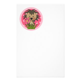 Cute Hedgehog With Flower and Hearts Stationery Design