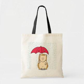 Cute hedgehog with torn umbrella
