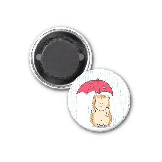 Cute hedgehog with torn umbrella cartoon magnet