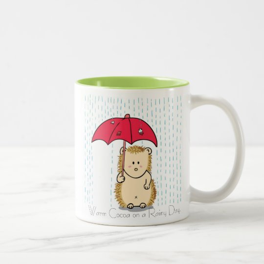 Cute hedgehog with torn umbrella Mug. Two-Tone Coffee
