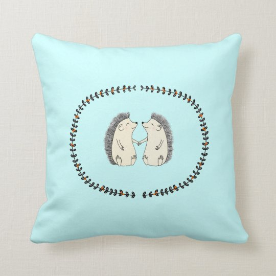 Cute Hedgehogs Couple Woodland Couch Throw Pillow