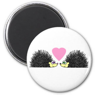 Cute Hedgehogs In Love 6 Cm Round Magnet