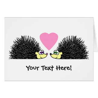 Cute Hedgehogs In Love Card