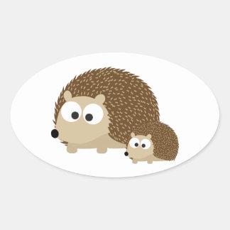 Cute Hedgehogs Oval Sticker