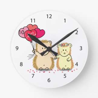 Cute hedgehogs with balloons, newly married couple round clock