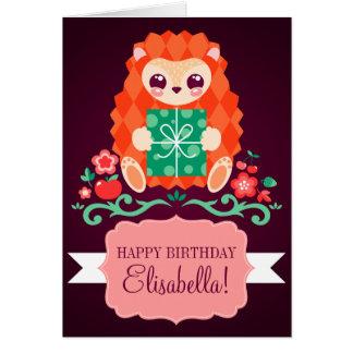 Cute Hedgie - Custom Birthday Card
