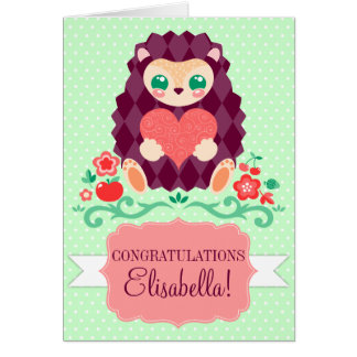 Cute Hedgie Heart - Custom Card