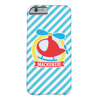 Cute Helicopter; Blue & White Stripes Barely There iPhone 6 Case