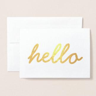 Cute Hello Gold Foil Invitation Card