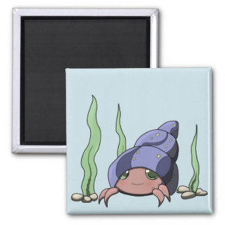 Cute hermit crab square magnet