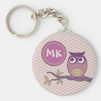 Cute Herringbone Owl Trendy Orchid Purple Moon Key Ring
