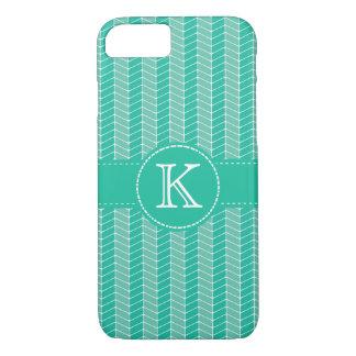 Cute Herringbone Turquoise with Monogram iPhone 7 Case