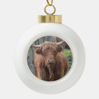 Cute Highland Cow by Fence Ceramic Ball Decoration