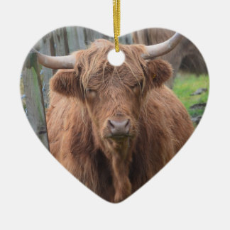 Cute Highland Cow by Fence Ceramic Heart Decoration