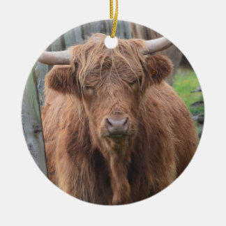 Cute Highland Cow by Fence Double-Sided Ceramic Round Christmas Ornament