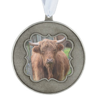 Cute Highland Cow by Fence Scalloped Ornament