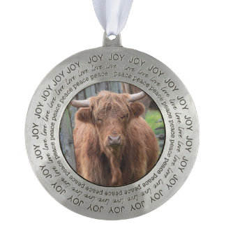 Cute Highland Cow by Fence Round Pewter Ornament
