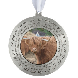 Cute Highland Cow Round Pewter Ornament
