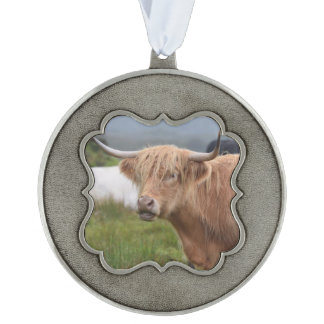 Cute Highland Cow Scalloped Pewter Ornament