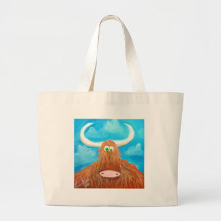 CUTE HIGHLAND COW LARGE TOTE BAG