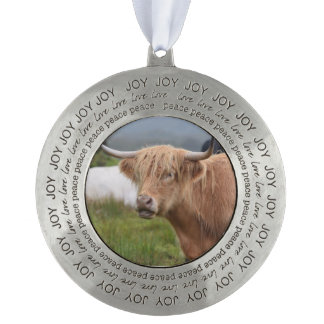 Cute Highland Cow Round Pewter Christmas Ornament