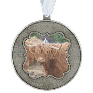 Cute Highland Cow Scalloped Ornament
