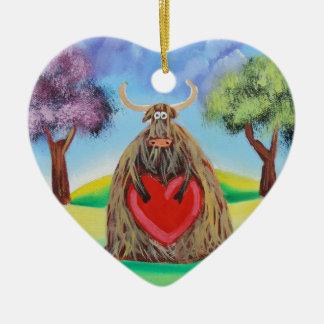 Cute Highland cow with a heart Gordon Bruce Ceramic Heart Decoration