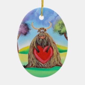 Cute Highland cow with a heart Gordon Bruce Ceramic Oval Decoration