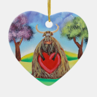 Cute Highland cow with a heart Gordon Bruce Christmas Ornament