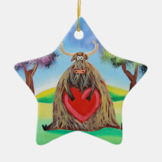 Cute Highland cow with a heart Gordon Bruce Ceramic Star Decoration